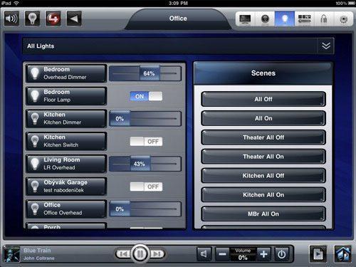 control4 ipad lights
