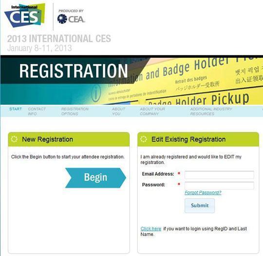 ces 2013 registration