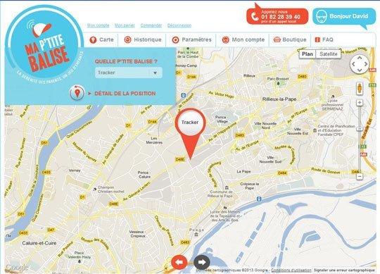 ma ptite balise interface web carte Ma Ptite Balise : la première balise GPS pour enfant