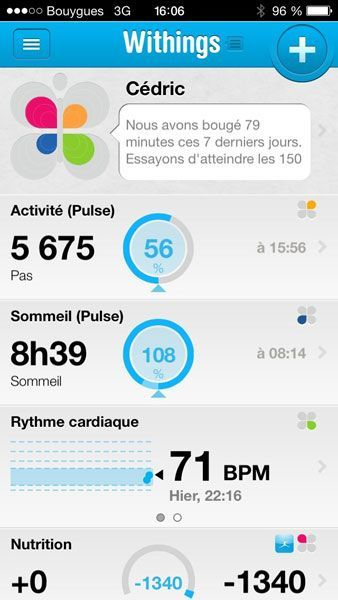 Withings Pulse iPhone app activite sommeil