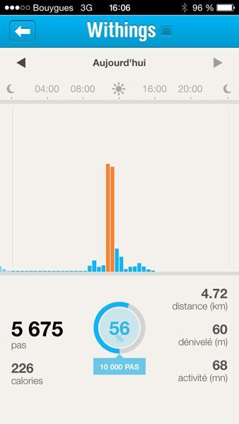 Withings Pulse iPhone app activity