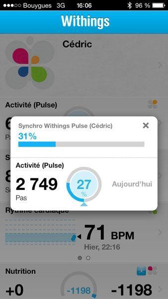 Withings Pulse iPhone app mesures