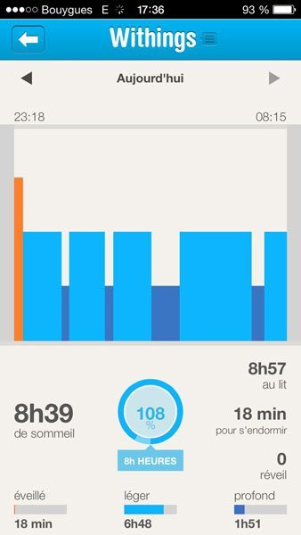 Withings Pulse iPhone app sommeil
