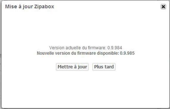Zipabox : Mise à jour 0.9.985