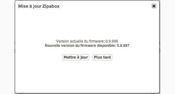 Mise à jour Zipabox V0.9.997