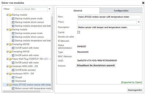 Guide d'installation du détecteur de mouvement ZP3102 Vision Security avec la Zipabox