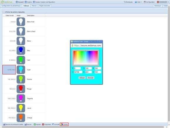Guide d'utilisation de l'ampoule LED RGBW Z-Wave avec la Eedomus