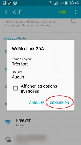 [Wemo App] 02 connection wifi Wemo Link