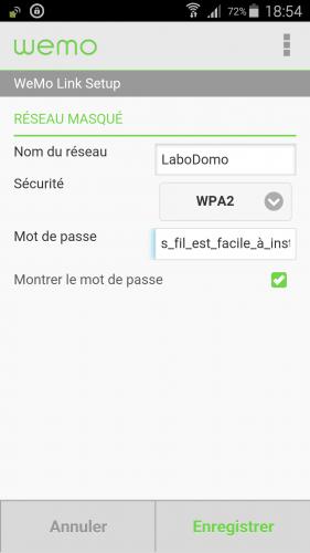 [Wemo App] 05 Configuration réseau wifi perso