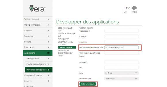 Plugin RFplayer sur Vera 03