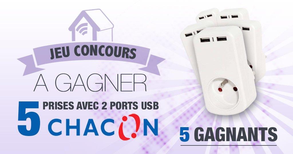 #CONCOURS: 5 prises Chacon avec port Usb à gagner !
