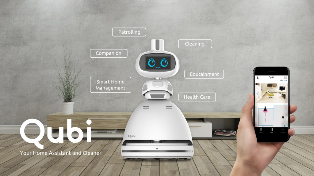 #CES2018 : Le robot domestique Qubi entre vigile et aspirateur