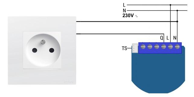 Schema de cablage pour rendre une prise murale connectee