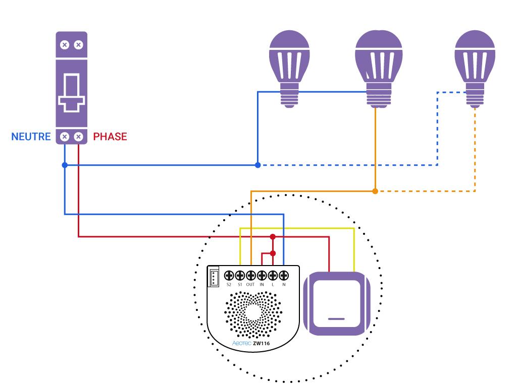 Domotiser eclairage simple avec neutre Aeotec ZW116