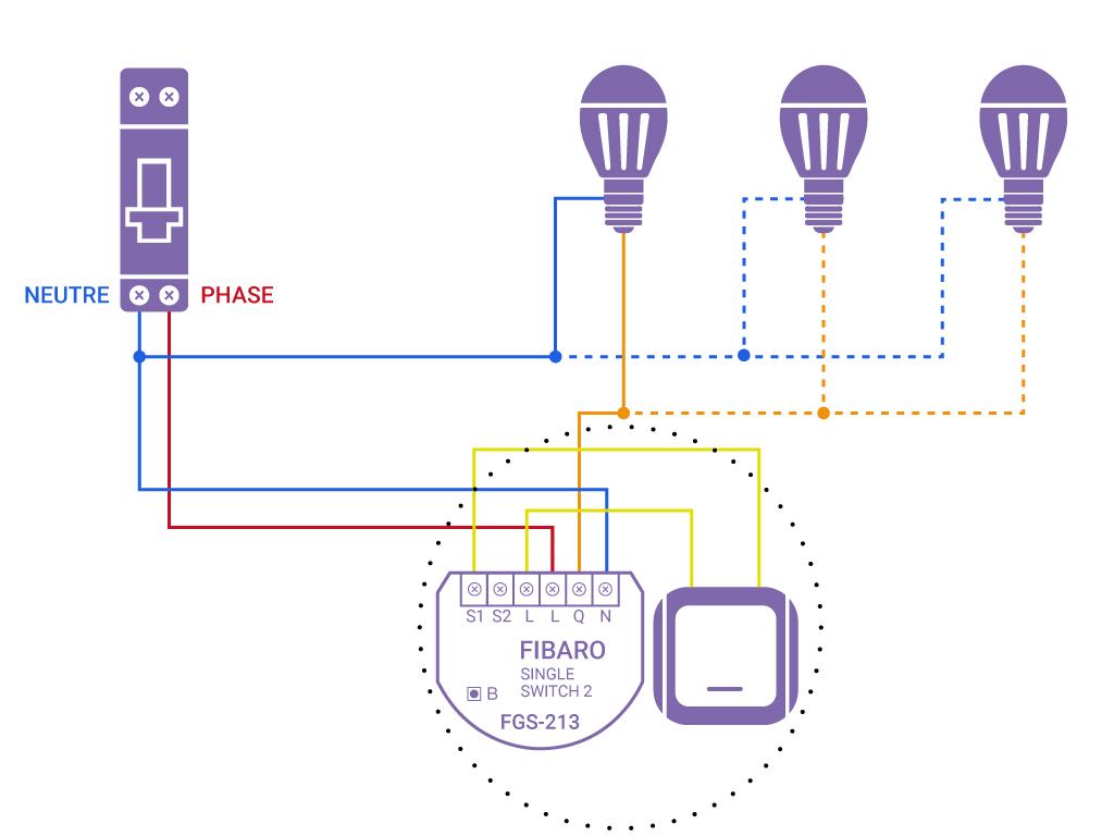 Domotiser eclairage simple avec neutre FGS 213
