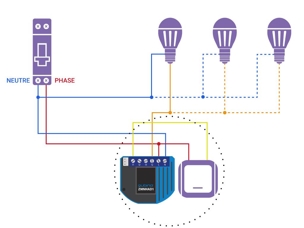 Domotiser eclairage simple avec neutre Qubino ZMNHAD1