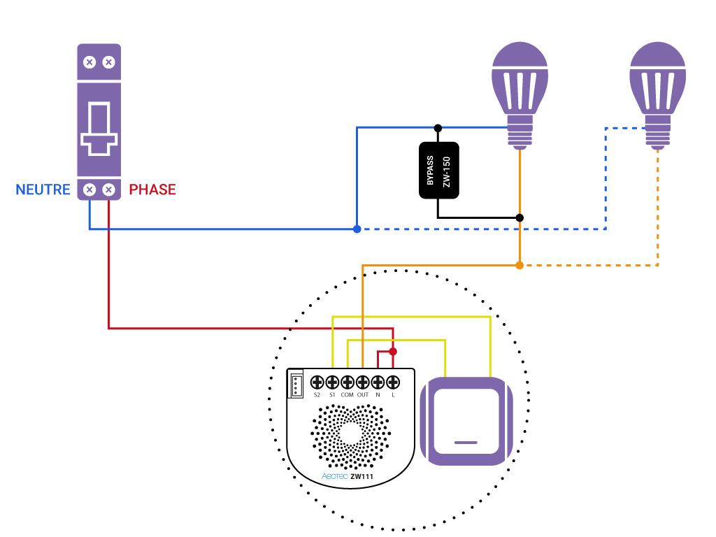 Domotiser eclairage simple sans neutre Aeotec ZW11 bypass