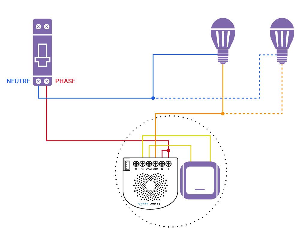 Domotiser eclairage simple sans neutre Aeotec ZW11