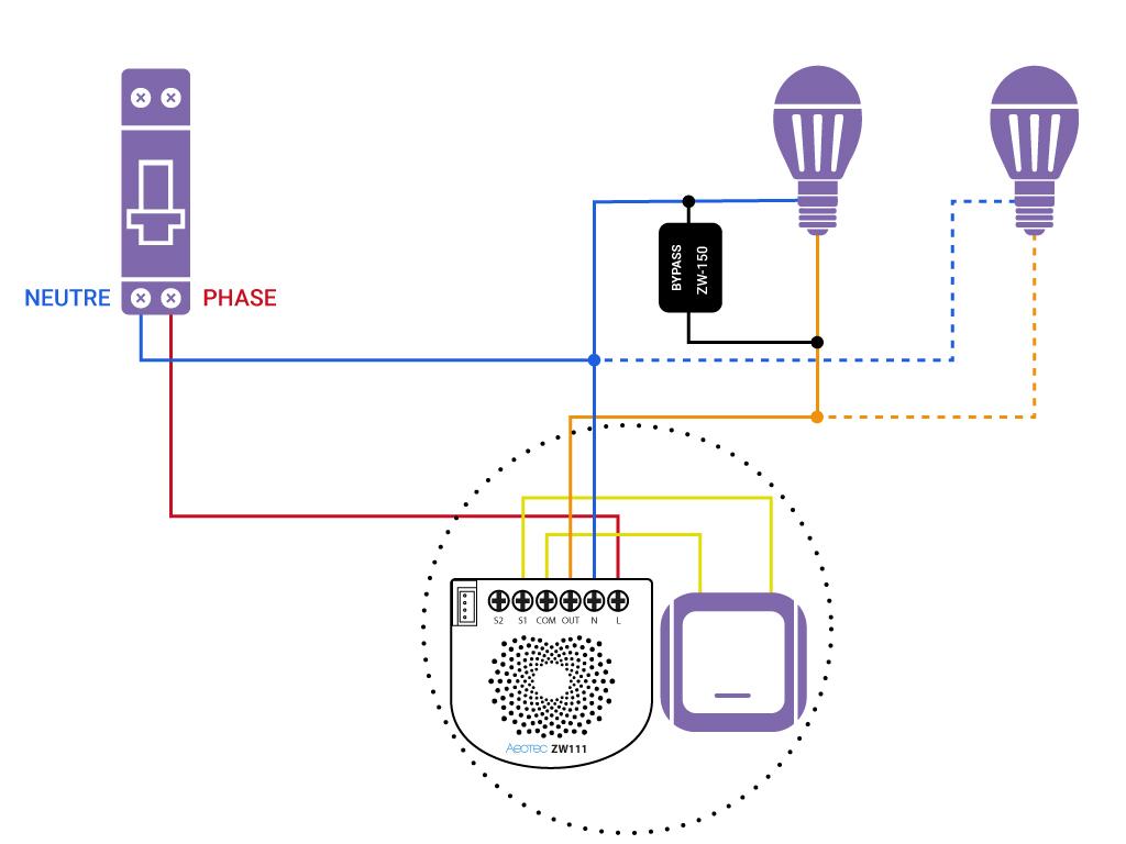 Domotiser eclairage simple avec neutre Aeotec ZW111 bypass