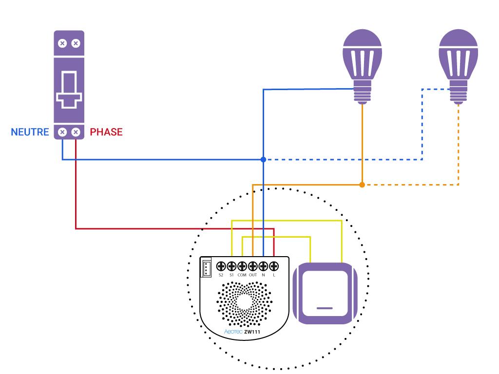 Domotiser eclairage simple avec neutre Aeotec ZW111