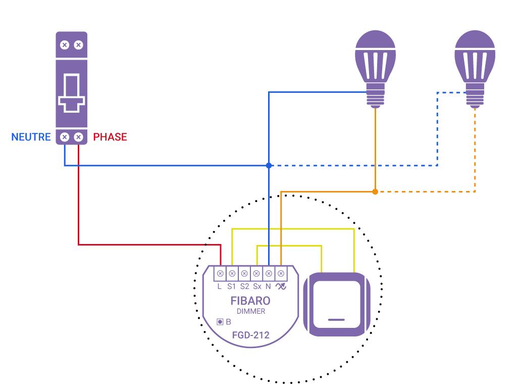 Domotiser eclairage simple avec neutre Fibaro FGD 212