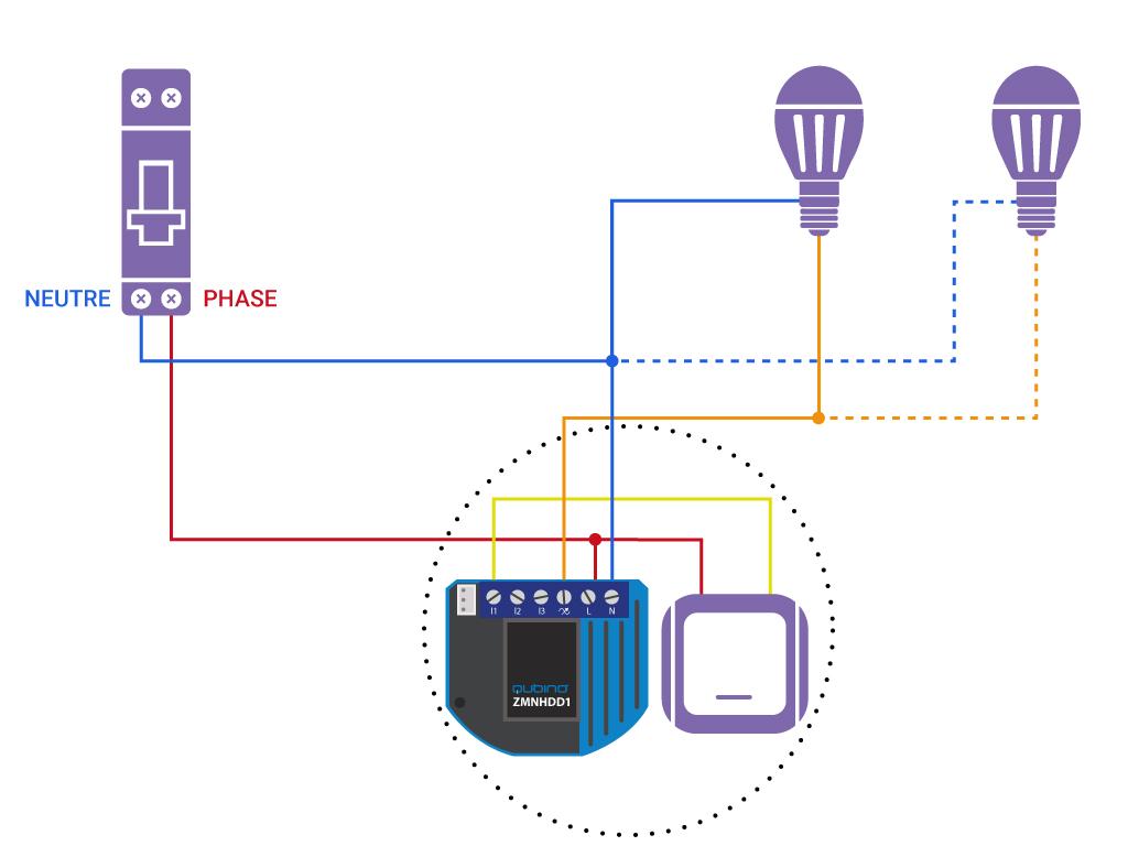 Domotiser eclairage simple avec neutre Qubino ZMNHDD1