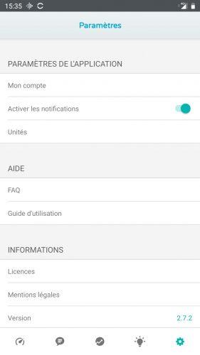 ico app paramètres