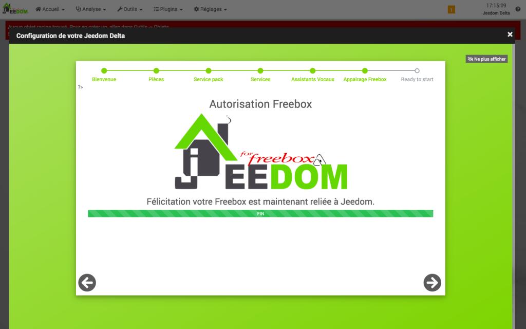 configuration facile jeedom wizard freebox delta 14