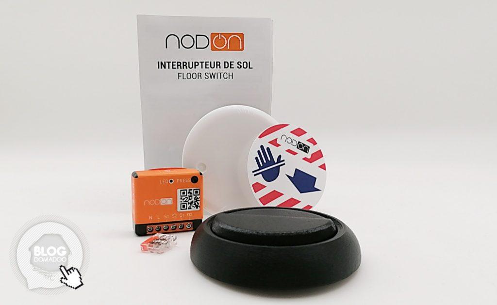Le contenu du kit de l'interrupteur de sol NodOn