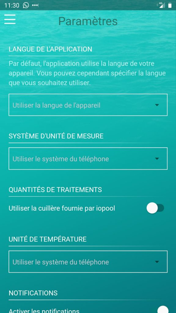 iopool eco app parametres