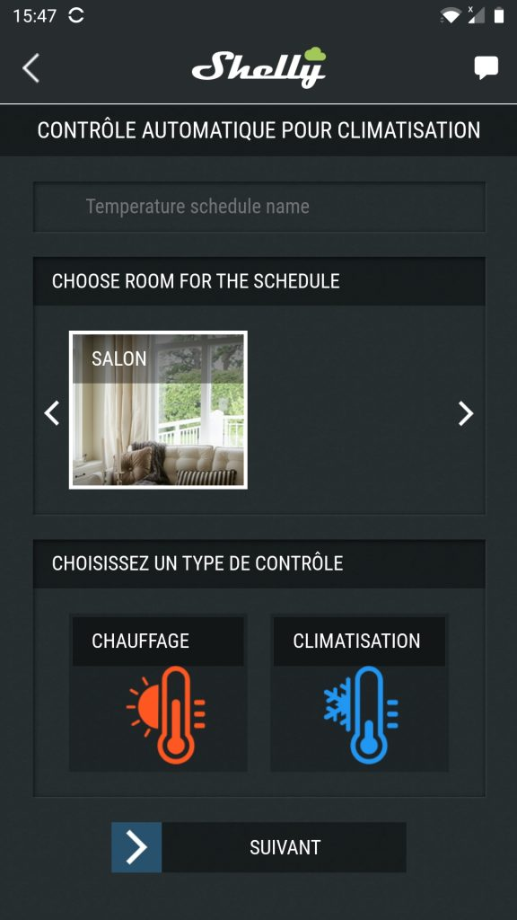 shelly cloud app thermostat
