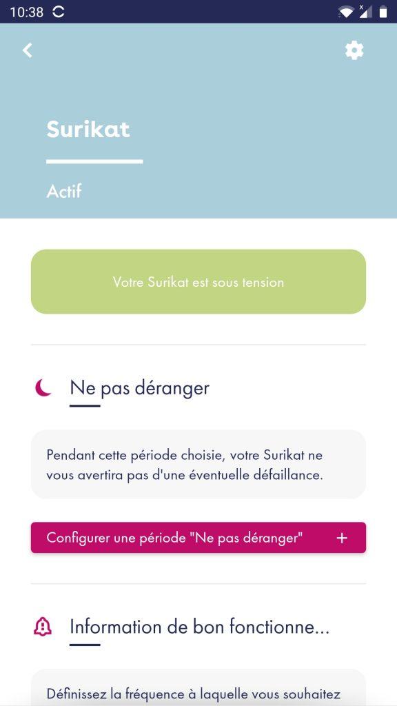 surikat app sous tension