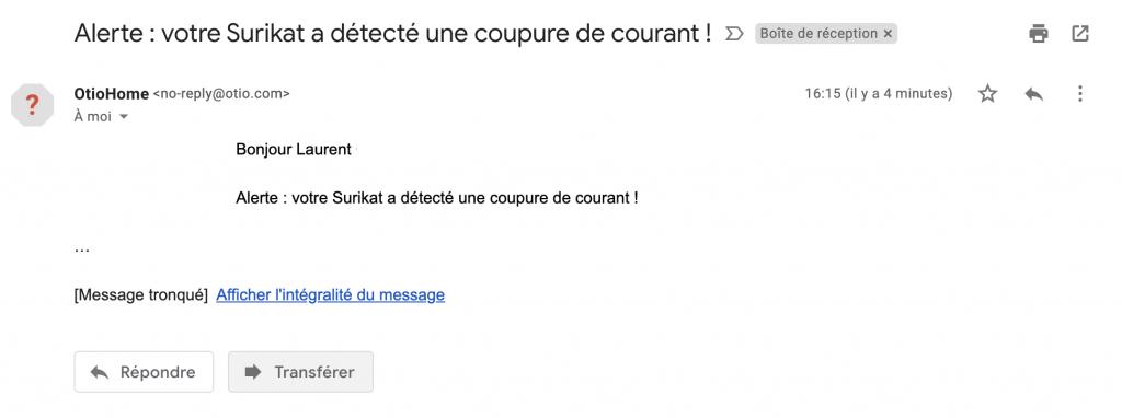 surikat email coupure courant