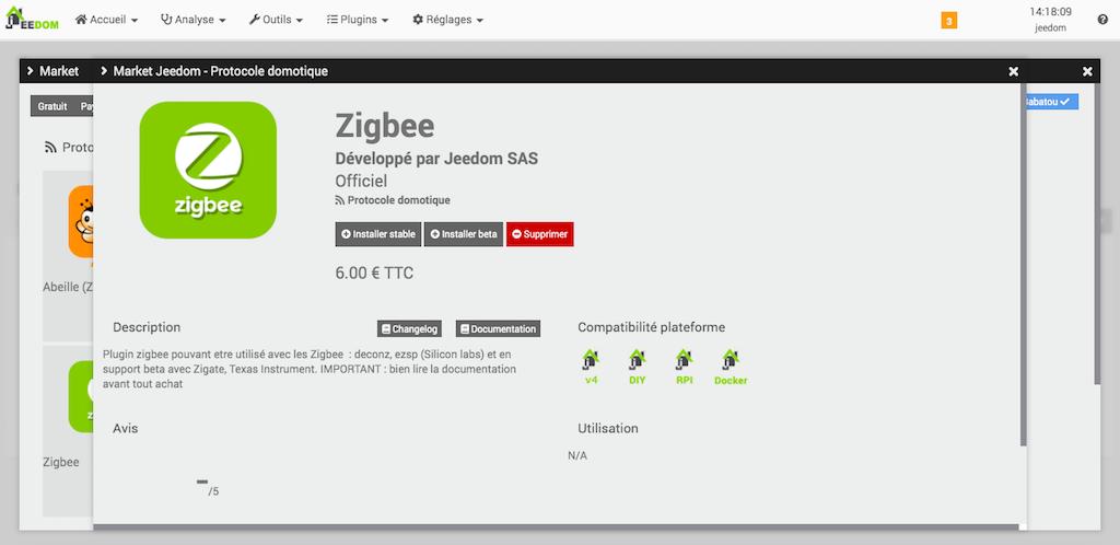 plugin zigbee officiel jeedom domotique 7